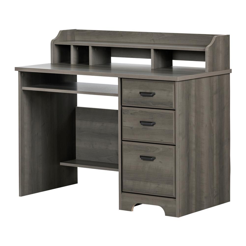 Versa Gray Maple Computer Desk with Hutch