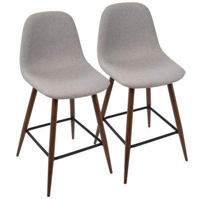Pebble 24 in. Walnut and Light Grey Counter Stool (Set of 2)