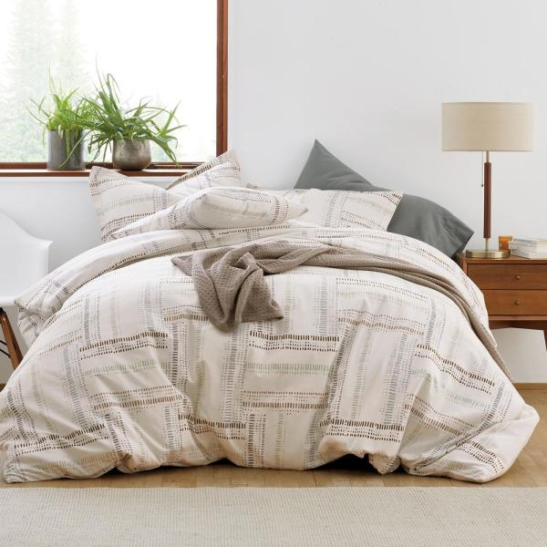 Queen Bed Sheet Bedding Flat 100/% Cotton Plaid Fitted Size Gingham Plaid Brown Q