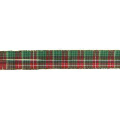 2.5 in. x 16 yds. Red and Green Plaid with Metallic Gold Wired Christmas Ribbon