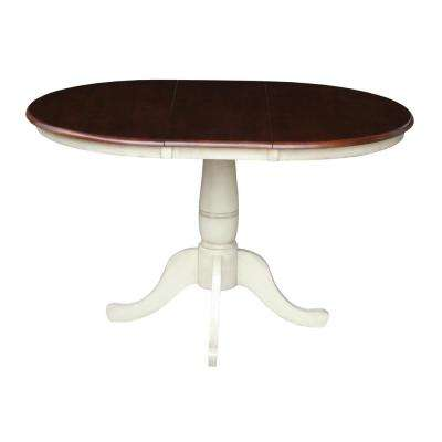 Almond and Espresso 36 in. x 36 in. x 48 in. Extension Laurel Pedestal Table