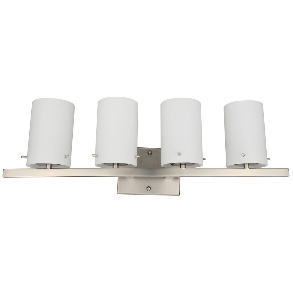 4-Light Brushed Nickel Integrated LED Vanity Light Bar with White Frosted Glass