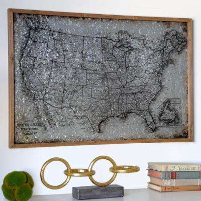 """23.50 in. H """"Map of United States of America and Terrotories"""" Printed Wall Panel"""