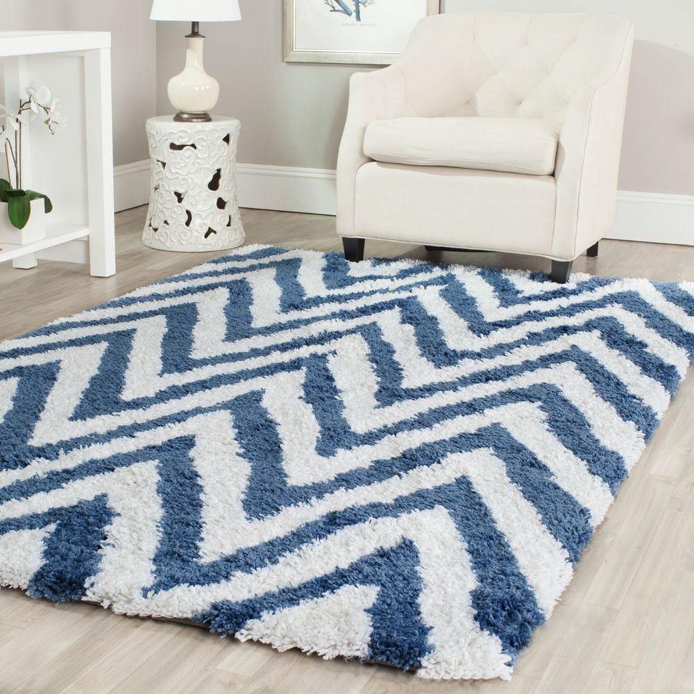 Chevron Shag Ivory Blue 6 Ft X 9 Area Rug