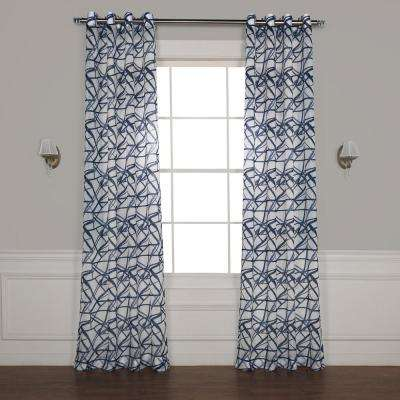 Matrix Blue Grommet Printed Sheer Curtain - 50 in. W x 108 in. L