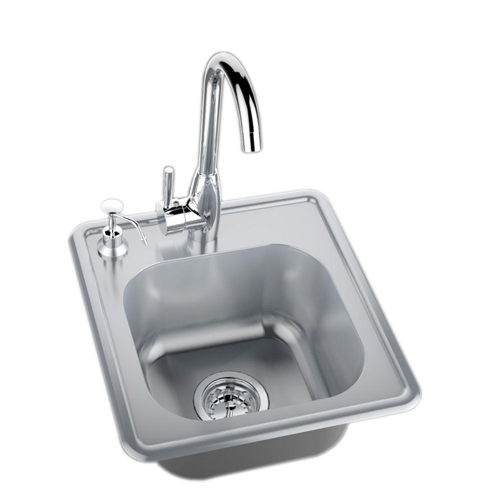 Sunstone 17 in. 304 Stainless Steel Single Sink with Cold and Hot ...