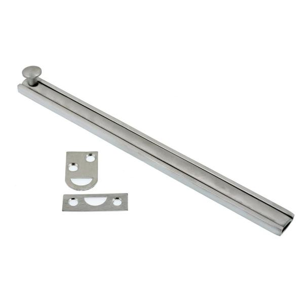 8 in. Solid Brass Satin Chrome Surface Bolt