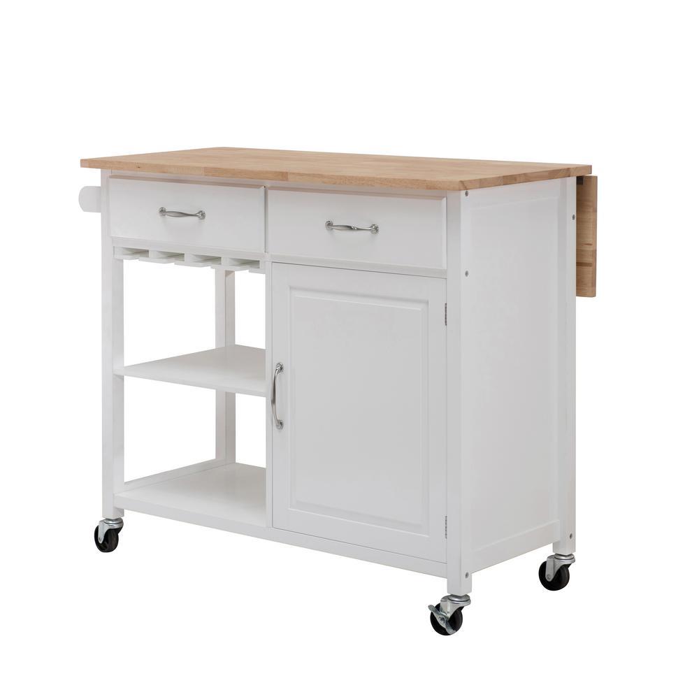 Heathcot White Kitchen Cart