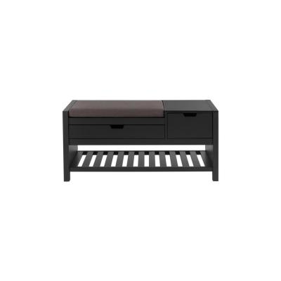 Home Decorators Collection Black Finish Wood Entryway Bench with Cushion and Concealed Storage  (41.5 in. W x 19 in. H)