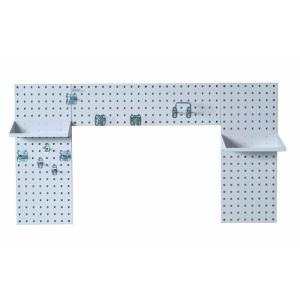LocBoard White Epoxy Coated Steel Square Holes Pegboard Wall Mount Organizer