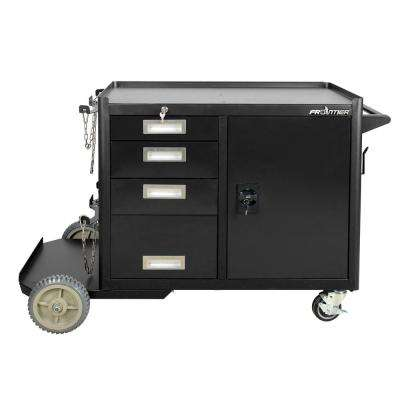 Large Heavy-Duty Welding Cart and 4-Drawer Tool Storage Cabinet