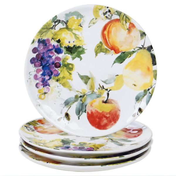 Ambrosia 4-Piece Seasonal Multicolored Earthenware 11 in. Dinner Plate Set (Service for 4)