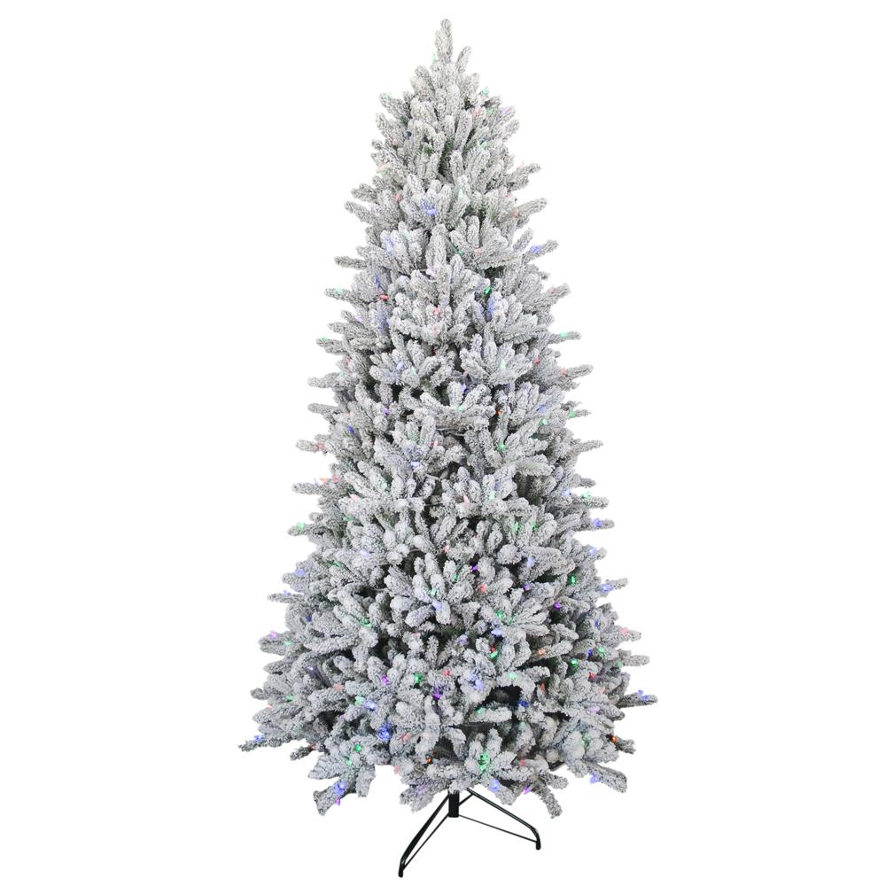 pre lit led flocked balsam wrgb artificial christmas tree - Prelit Led Christmas Trees