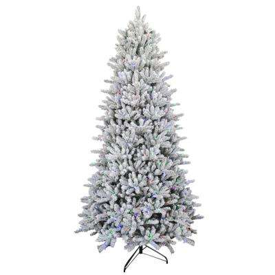 9 ft pre lit led flocked balsam wrgb artificial christmas tree - White Flocked Christmas Trees