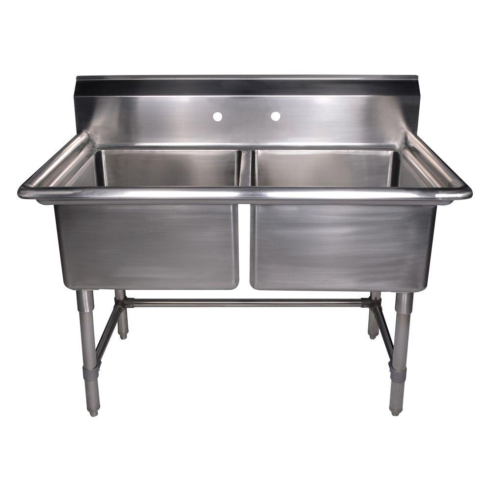 Whitehaus Collection Noah's Collection Freestanding Stainless Steel 471/2 in. 2-Hole Double Bowl Kitchen Sink in Brushed Stainless Steel