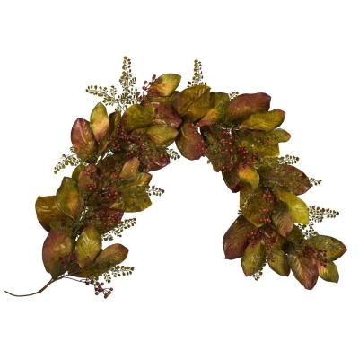 6 ft. Autumn Magnolia Leaf and Berries Artificial Garland