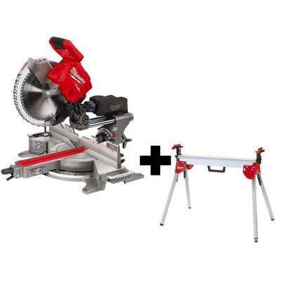 M18 FUEL 18-Volt Lithium-Ion Brushless Cordless 12 in. Dual Bevel Sliding Compound Miter Saw with Stand (Tool-Only)