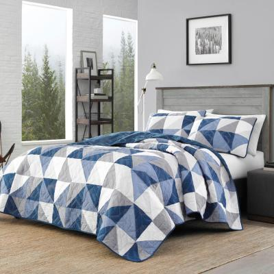 2-Piece Navy North Cove Cotton Twin Quilt Set