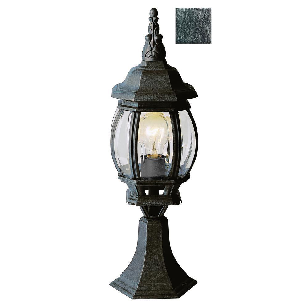 Francisco 20.5 in. 1-Light Swedish Iron Outdoor Postmount Lantern