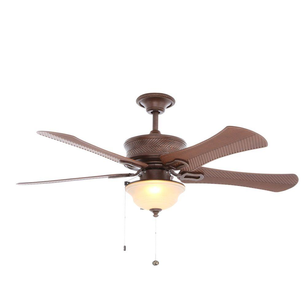 Hampton Bay Algiers 54 in. Indoor/Outdoor Bavarian Bronze Indoor/Outdoor Ceiling Fan with Light Kit