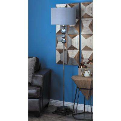 64 in. x 14 in. Modern Spheres and Blocks Iron and Glass Floor Lamp