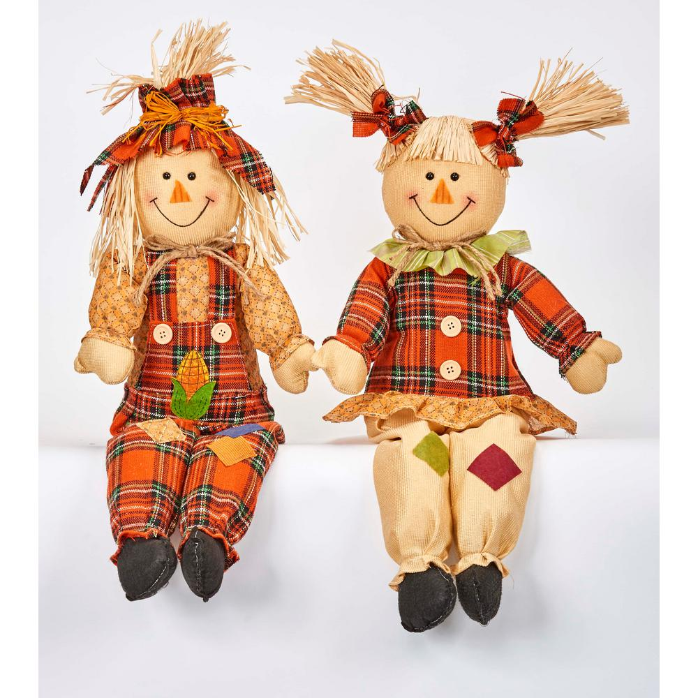 24 in. Sitting Scarecrow (Set of 2)