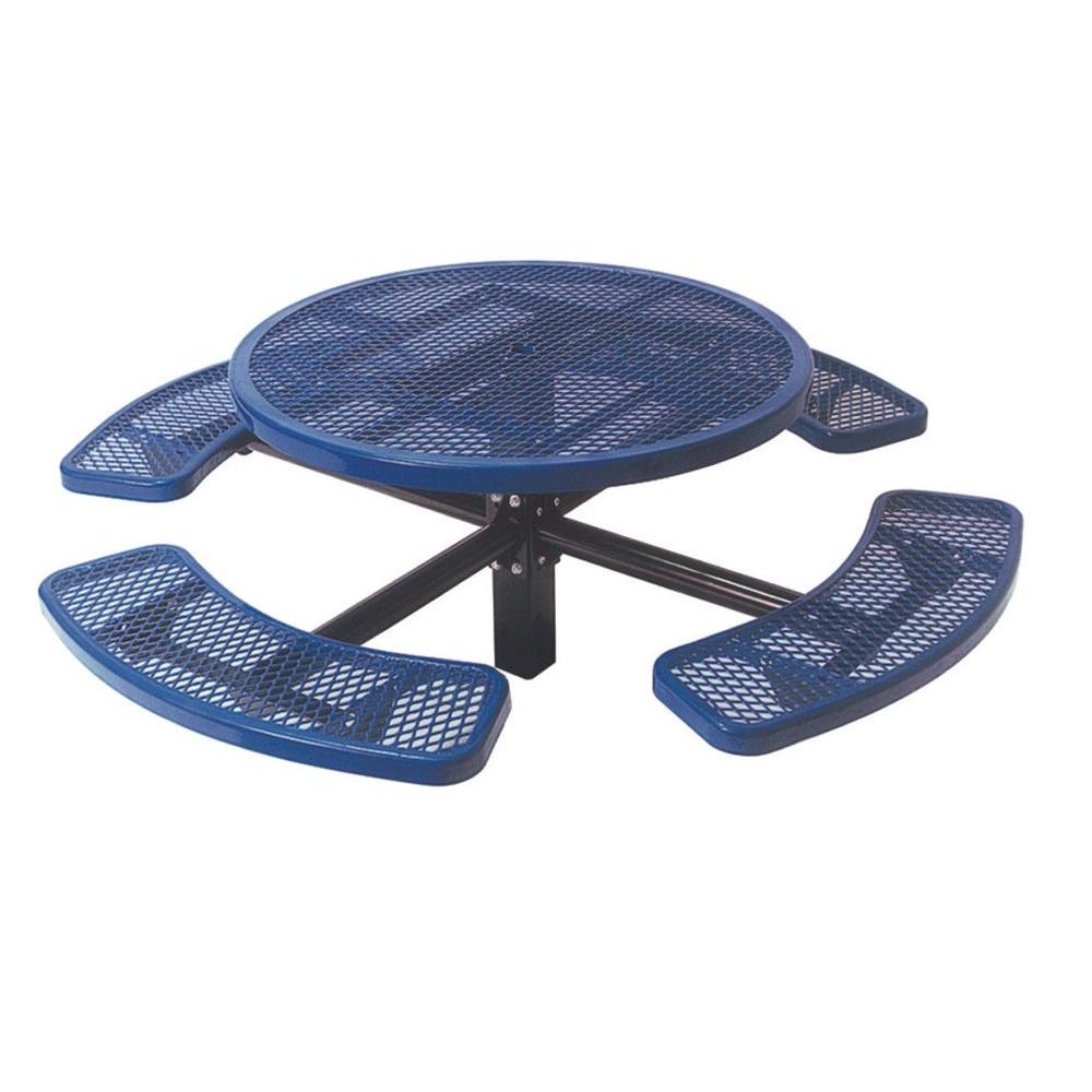 46 in. Diamond Blue Commercial Park Round Table in Ground