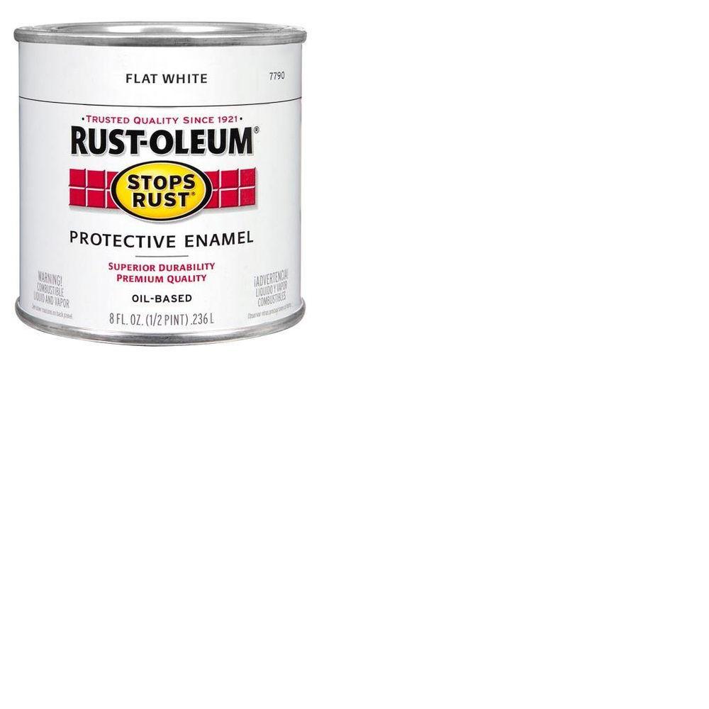 Rust-Oleum Stops Rust 8 oz. Protective Enamel Flat White Paint
