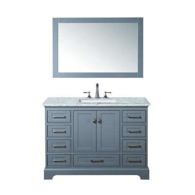 Newport 48 in. W x 22 in. D Vanity in Gray with Marble Vanity Top in Carrara White and Mirror