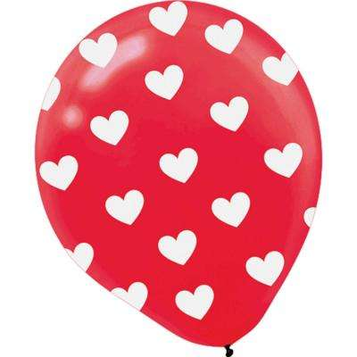 12 in. Valentine's Day Red Latex Heart All-Over Printed Balloons (6-Count, 5-Pack)