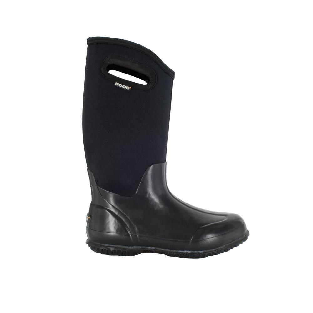 f8c8fae4a03 BOGS Classic High Women 13 in. Size 8 Glossy Black Rubber with Neoprene  Handle Waterproof
