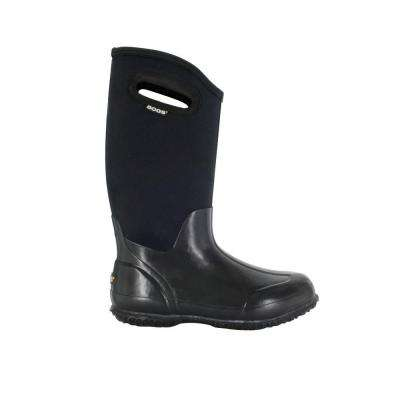 Classic High Women 13 in. Size 8 Glossy Black Rubber with Neoprene Handle Waterproof Boot