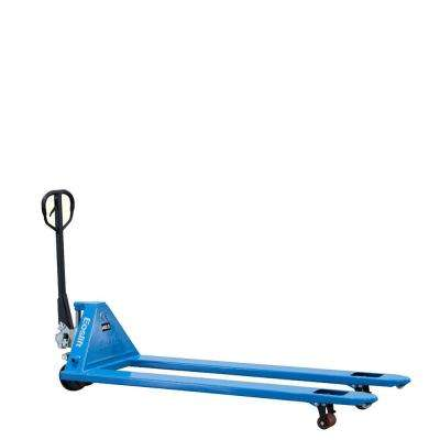 Extra Long 4,400 lbs. 27 in. x 72 in. Manual Pallet Truck German Seal System with Polyurethane Wheels