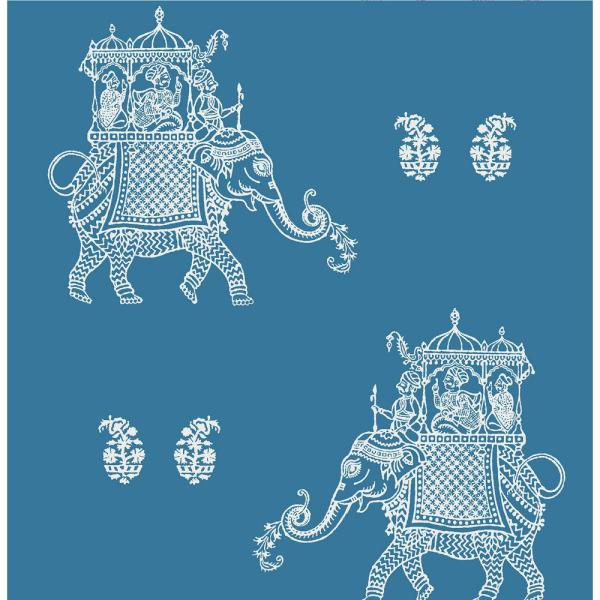 Compton, Ophelia Blue Elephant Paper Strippable Wallpaper Roll (Covers 56.4 sq. ft.)