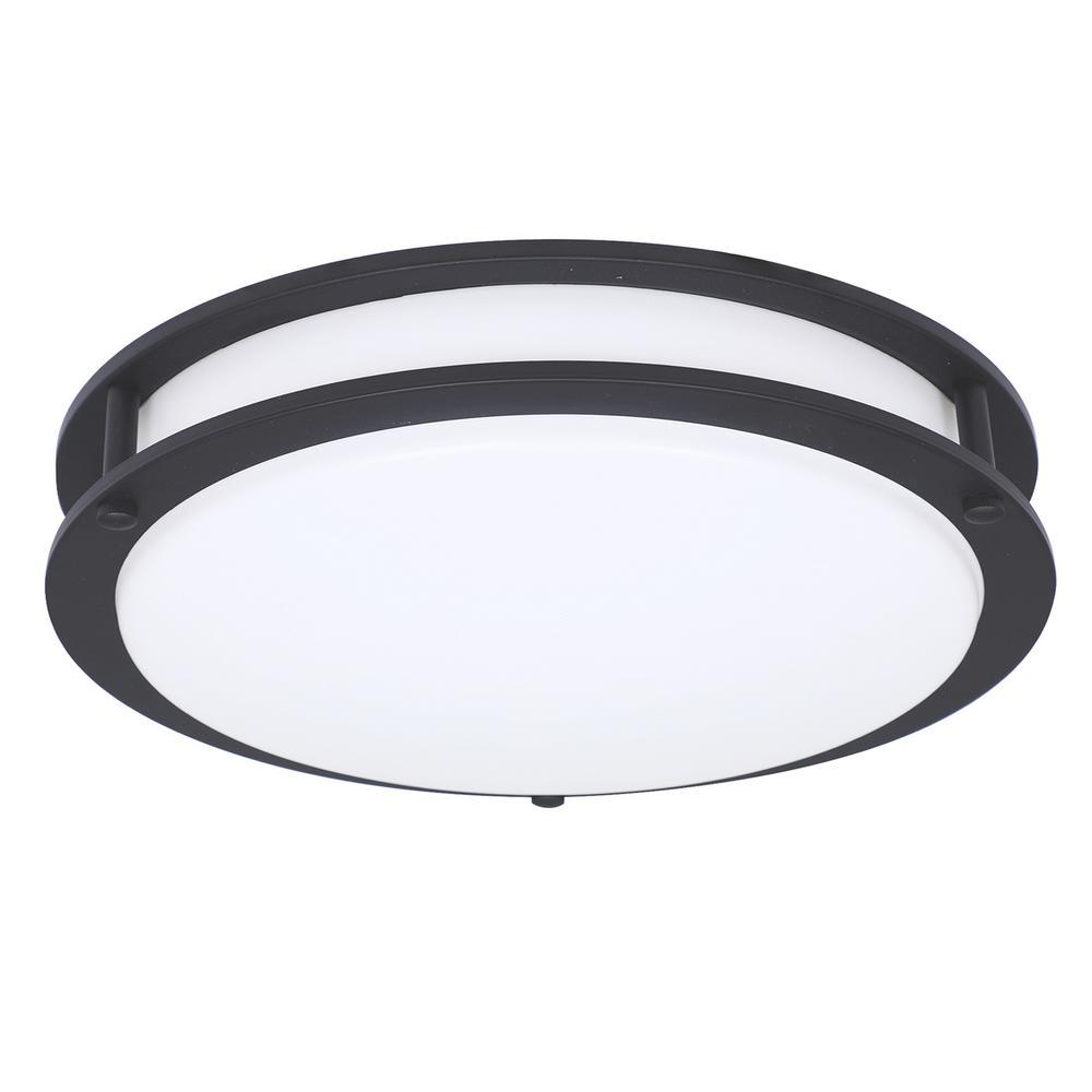 16 in. Matte Black Integrated Selectable LED CCT Round Flush Mount Light