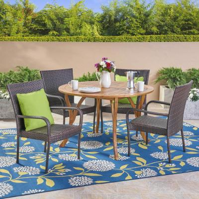 Noble House Grant Multi-Brown 5-Piece Wicker Outdoor Dining