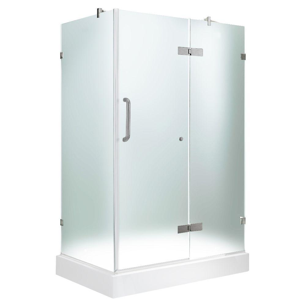 Vigo 32-3/8 in. x 40-1/4 in. x 79-1/4 in. Frameless Pivot Shower Door in Brushed Nickel with Frosted Glass with Right Base