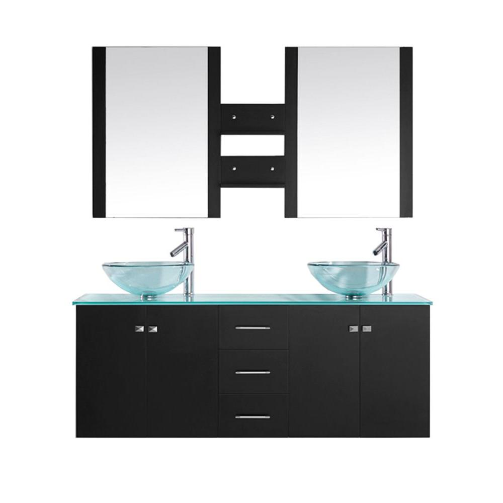 Virtu USA Clara 60 in. Double Basin Vanity in Espresso with Glass Vanity Top in Aqua and Mirrors-DISCONTINUED