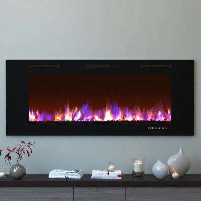 Bliss 60 in. Crystal Recessed Touch Screen Multi-Color Built-In Electric Fireplace in Black