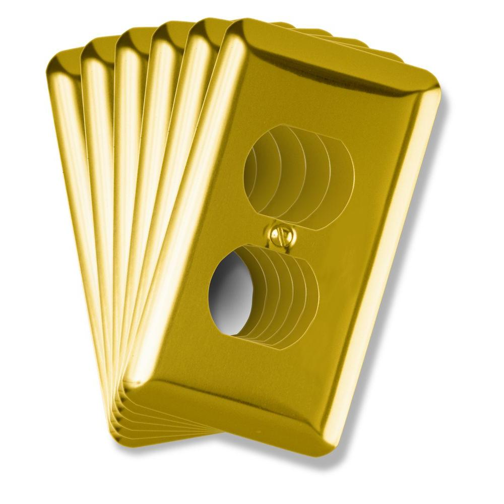 Amerelle 1 Duplex Steel Wall Plate - Bright Brass (6-Pack)