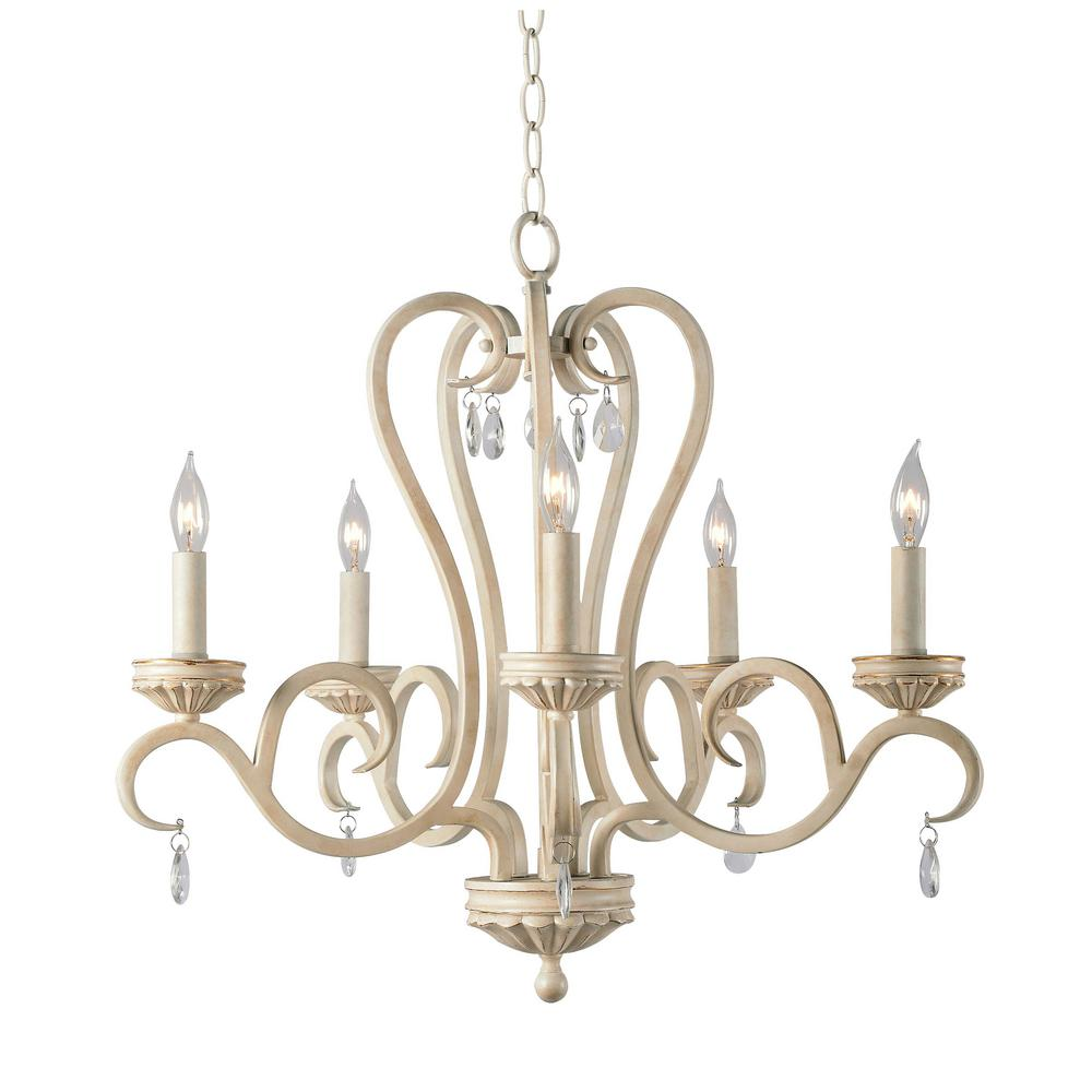 Marcella 5-Light White Chandelier