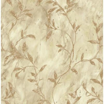 Wheatstone Metallic Gold and Off-White Leaf Wallpaper