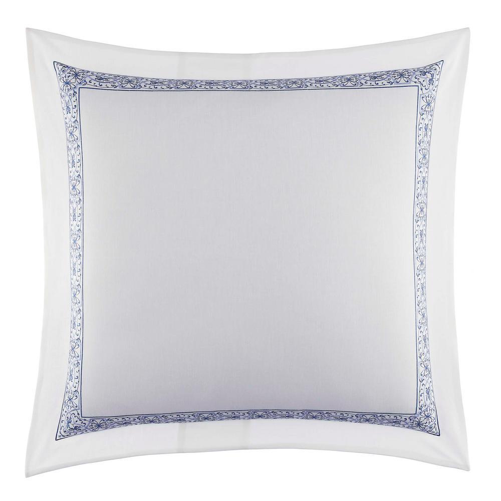 Charlotte Blue Floral Cotton Euro Sham