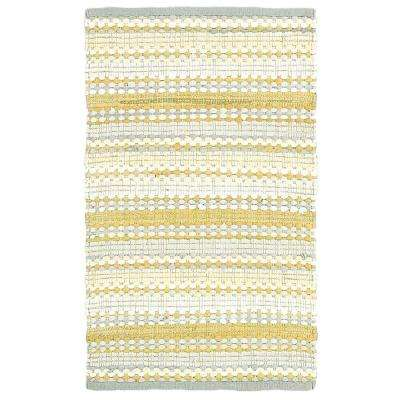 altair yellow multi rectangle 8 ft x 10 ft cotton reversible area rug