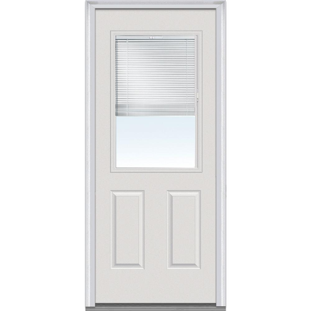 Milliken Millwork 36 in. x 80 in. Internal Mini Blinds Clear Glass 1/2 Lite 2-Panel Primed White Steel Prehung Front Door with Muntins