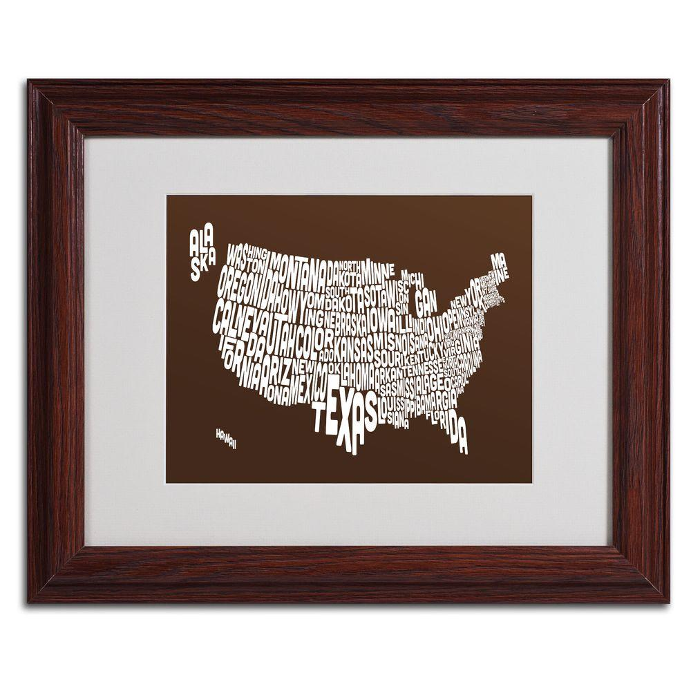 11 in. x 14 in. USA States Text Map - Chocolate