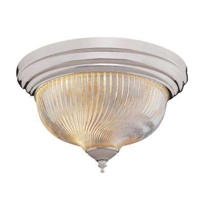 Murano 3-Light Brushed Nickel Flushmount with Clear Shade