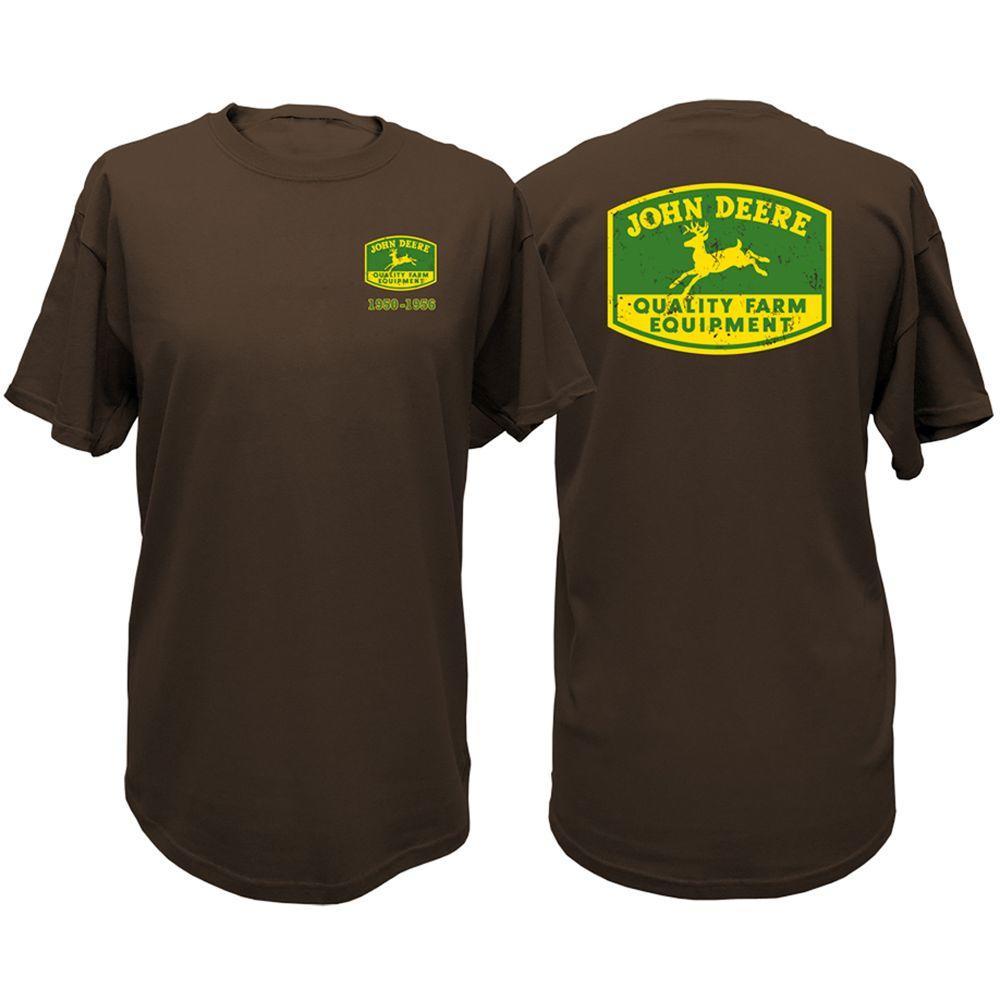 John Deere Vintage Trademark 5XL Adult Men's Crew Neck Tee Shirt in Brown