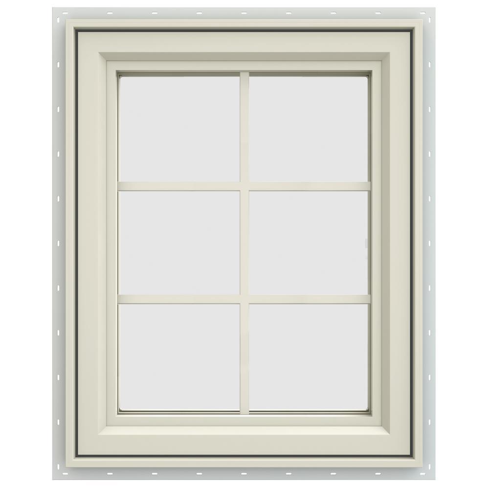 23.5 in. x 35.5 in. V-4500 Series Left-Hand Casement Vinyl Window with Grids - Yellow
