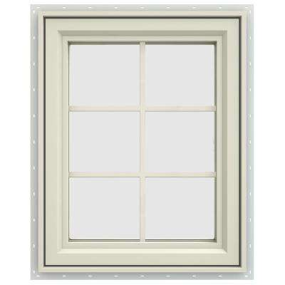 23.5 in. x 35.5 in. V-4500 Series Right-Hand Casement Vinyl Window with Grids - Yellow